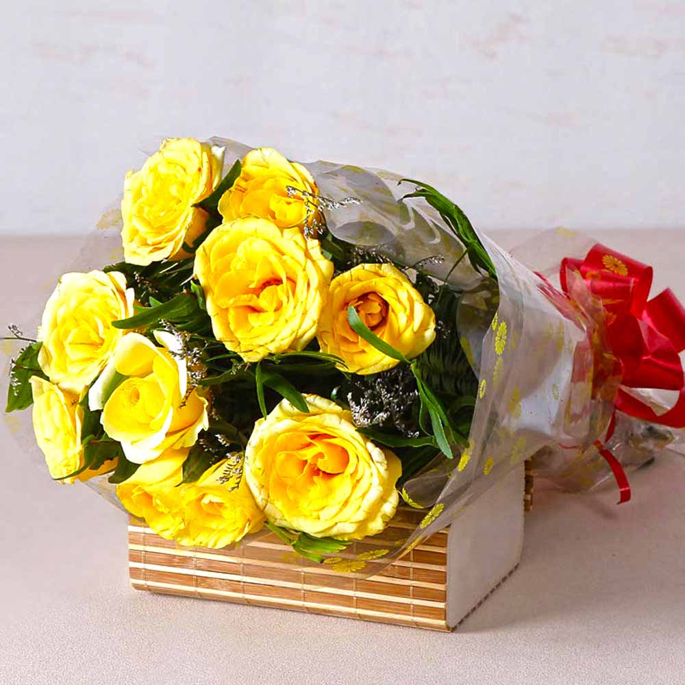Red Roses-Bright Yellow Roses Bunch