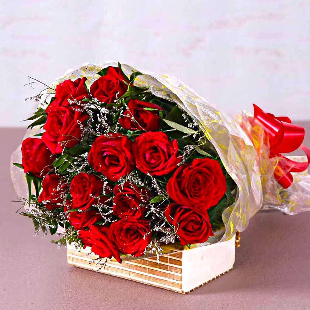 Red Roses-Fifteen Red Roses Bouquet