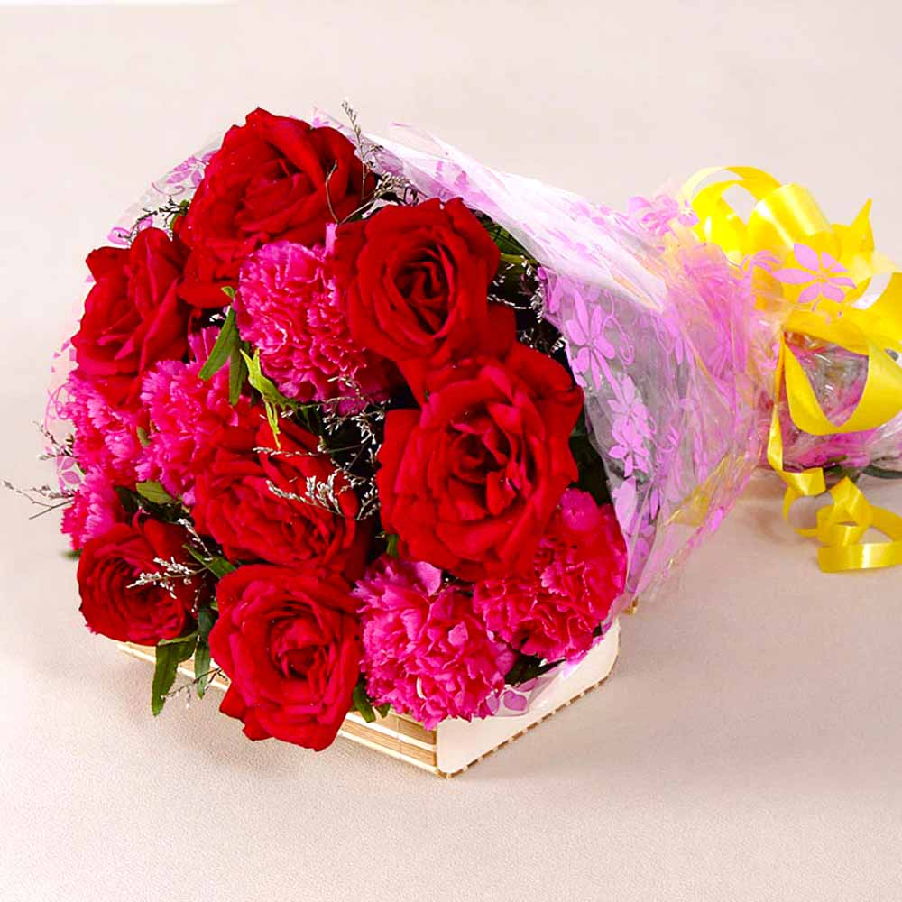 Red Roses-Bouquet of Red Roses and Pink Carnations