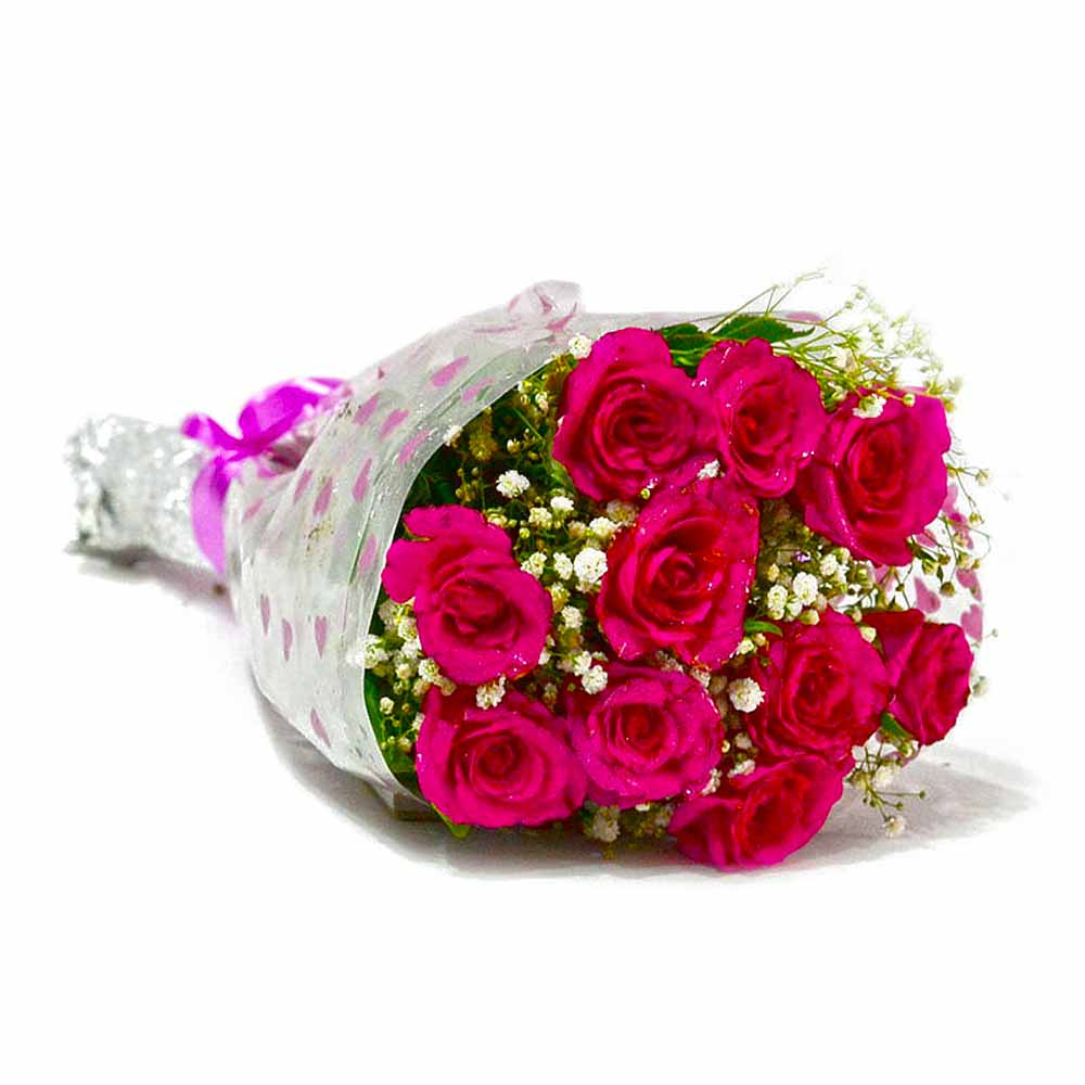 Red Roses-Fresh Ten Pink Roses Bunch
