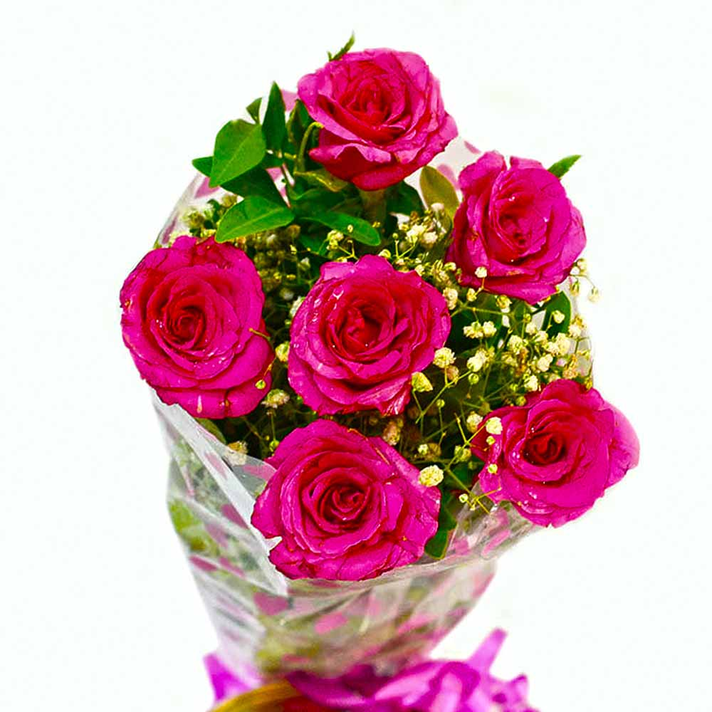 Fresh Six Pink Roses Bunch