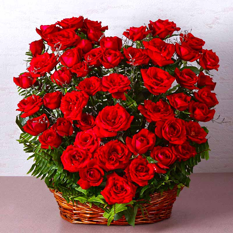 Flower Baskets-Fifty Red Roses Heart Shape Basket Arrangements
