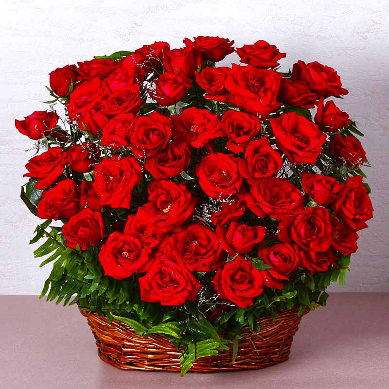 Fresh Flowers-Basket of Fifty Red Roses