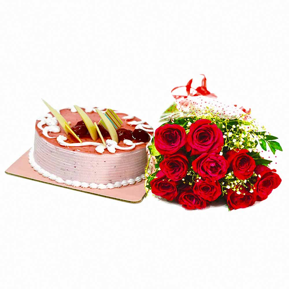 Bouquet of Red Roses with Strawberry Cake