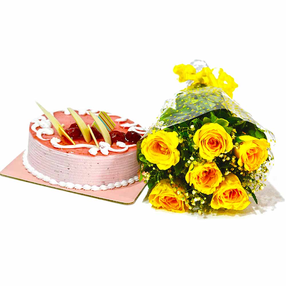 Bouquet of Yellow Roses and Strawberry Cake