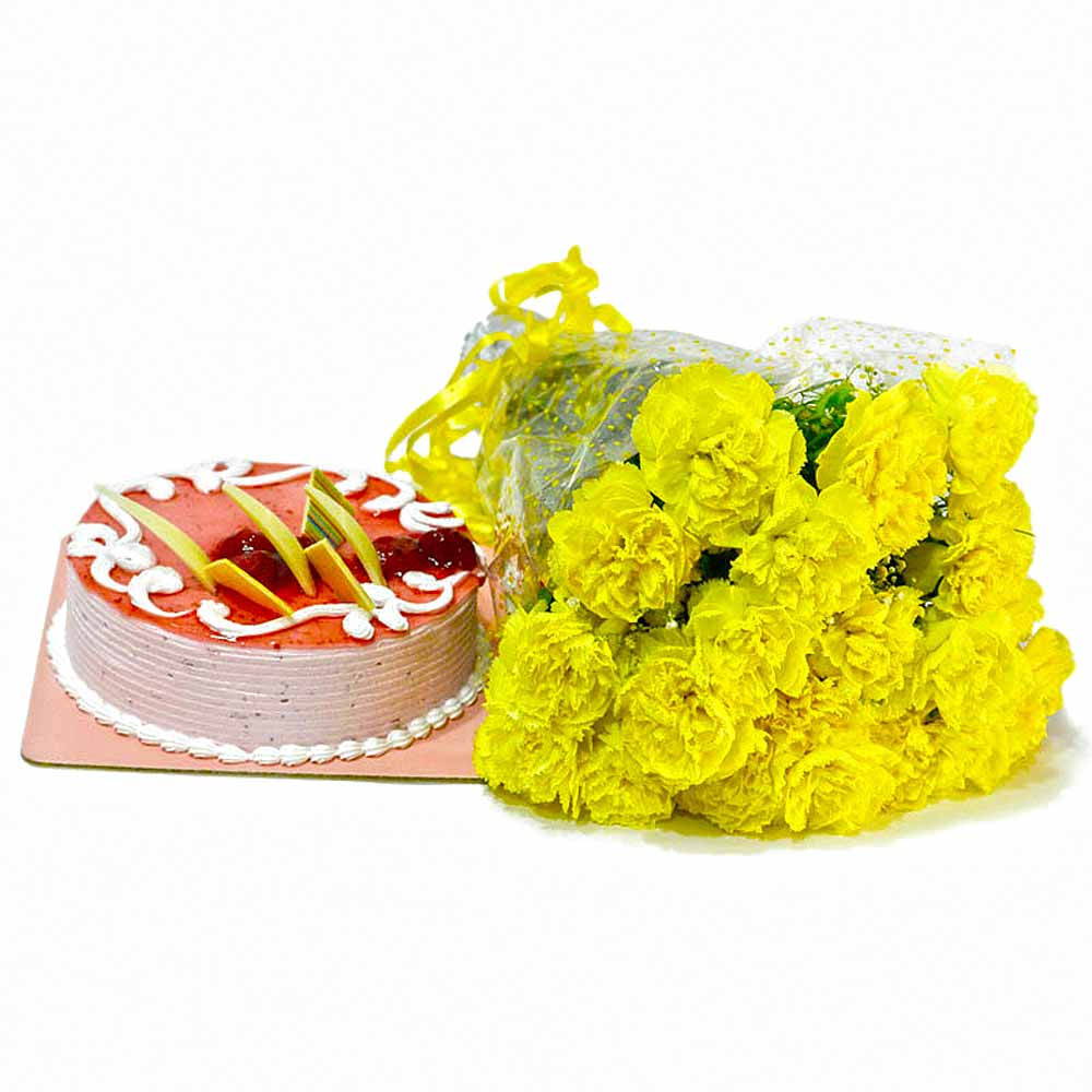 Cakes & Flowers-Bouquet of Yellow Carnations with Strawberry Cake