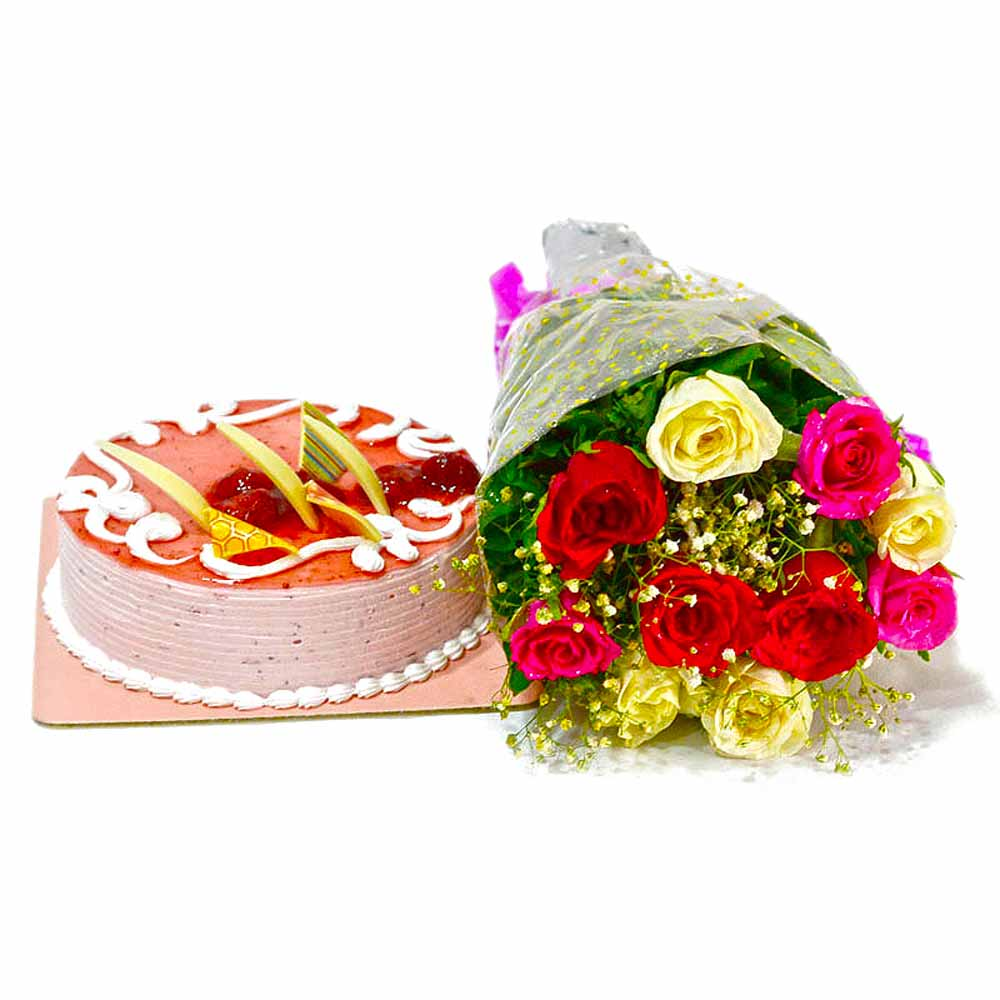 Cakes & Flowers-Ten Multi Color Roses Bunch with Strawberry Cake