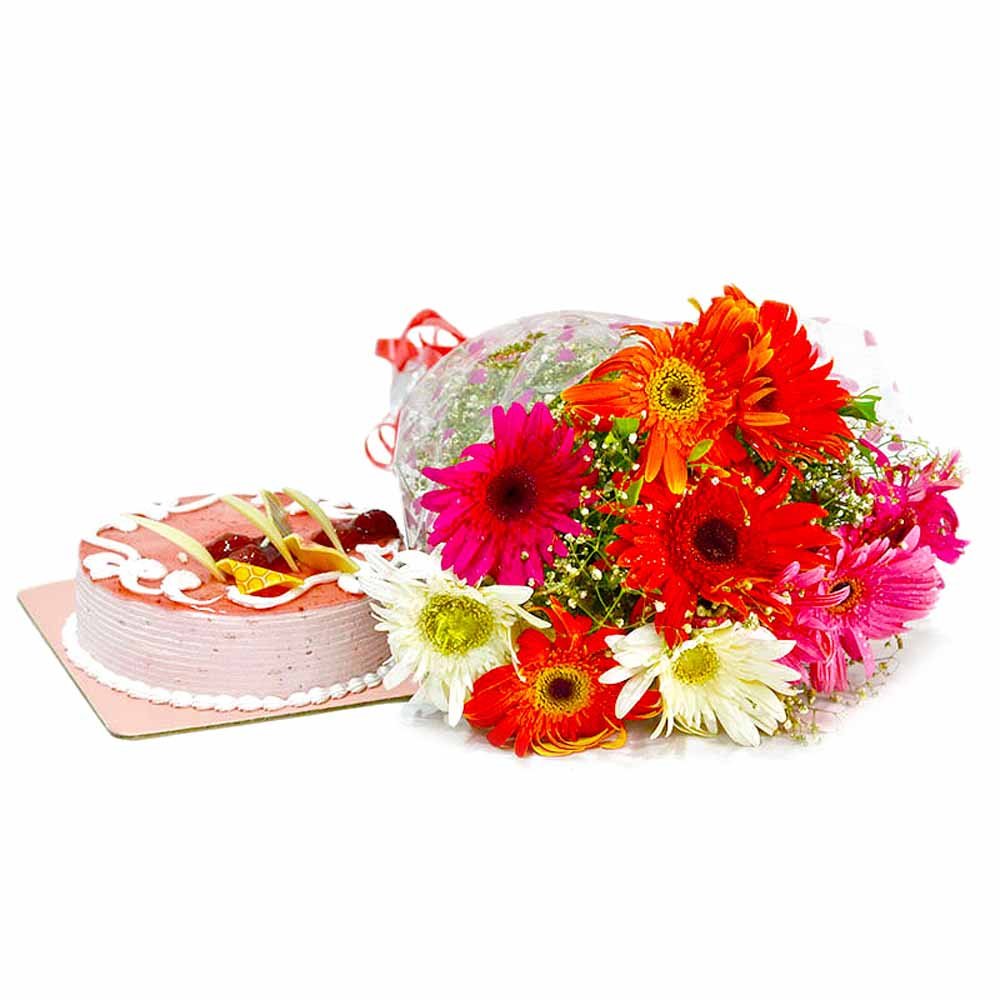 Cakes & Flowers-Ten Multi Color Gerberas with Strawberry Cake