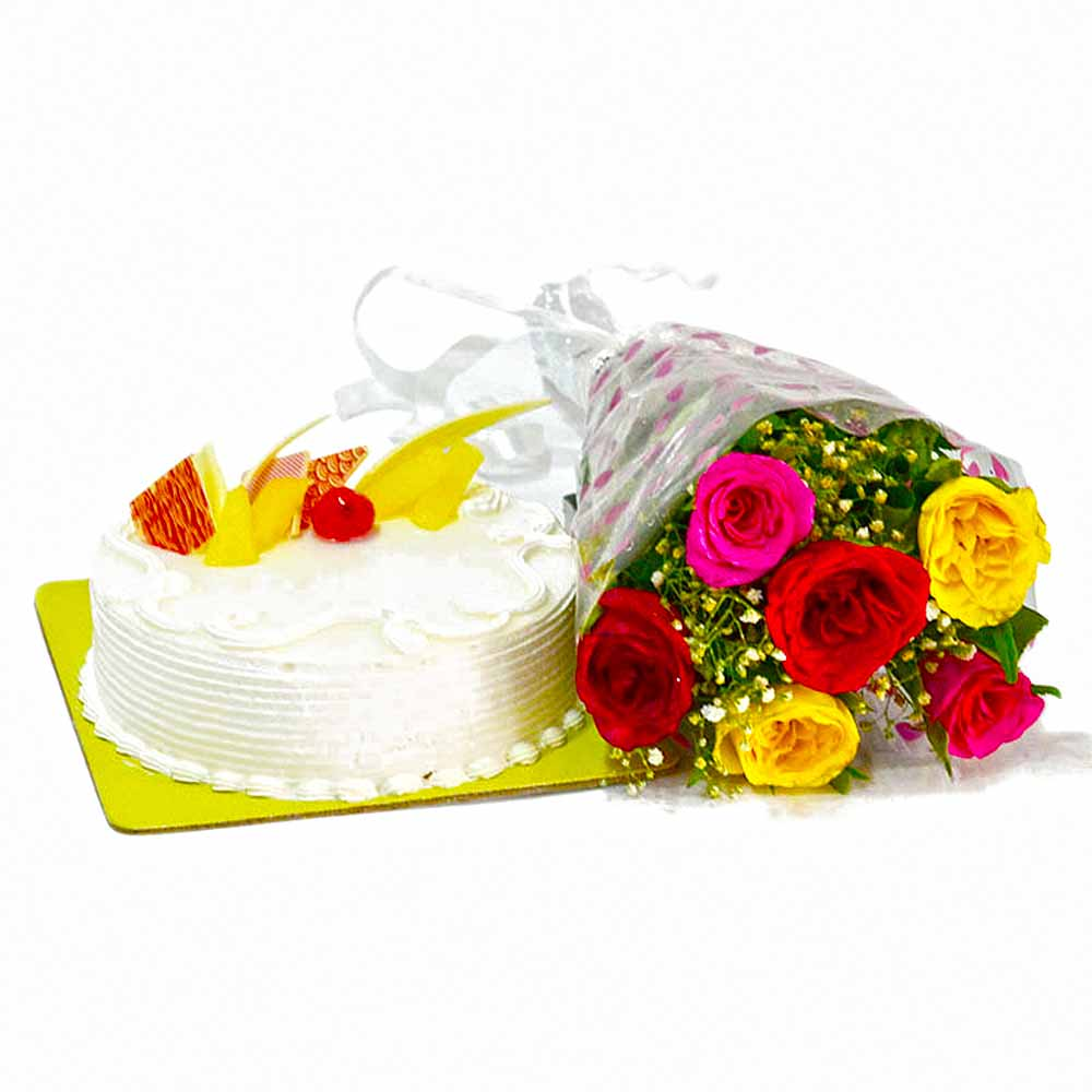 Cakes & Flowers-Six Multi Color Roses Bunch with Pineapple Cake