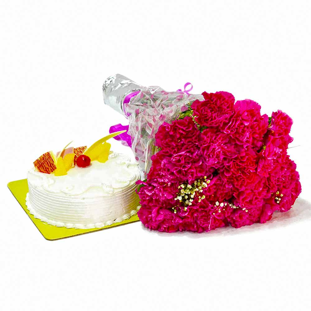 Cakes & Flowers-Carnation Flowers and Cake for Birthday Gifts