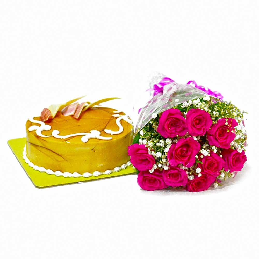 Cakes & Flowers-Cute 10 Pink Roses Bunch with Butterscotch Cake