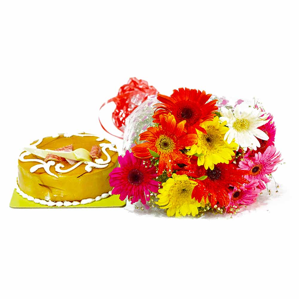 Colorful Gerberas Bouquet and Butterscotch Cake
