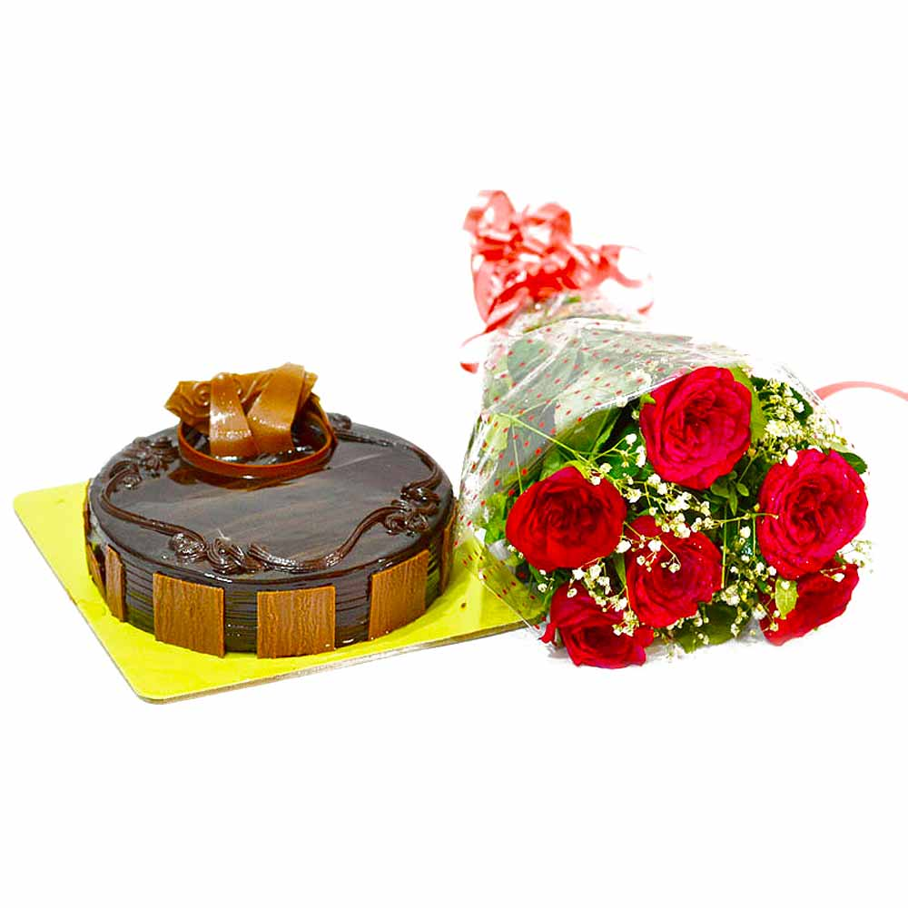 Half Kg Chocolate Cake and Red Roses Bouquet