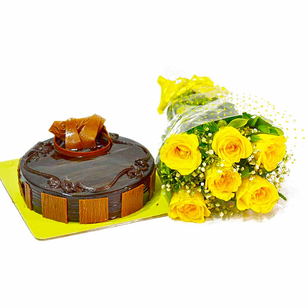 Cakes & Flowers-Half Kg Chocolate Cake and Yellow Roses Bouquet