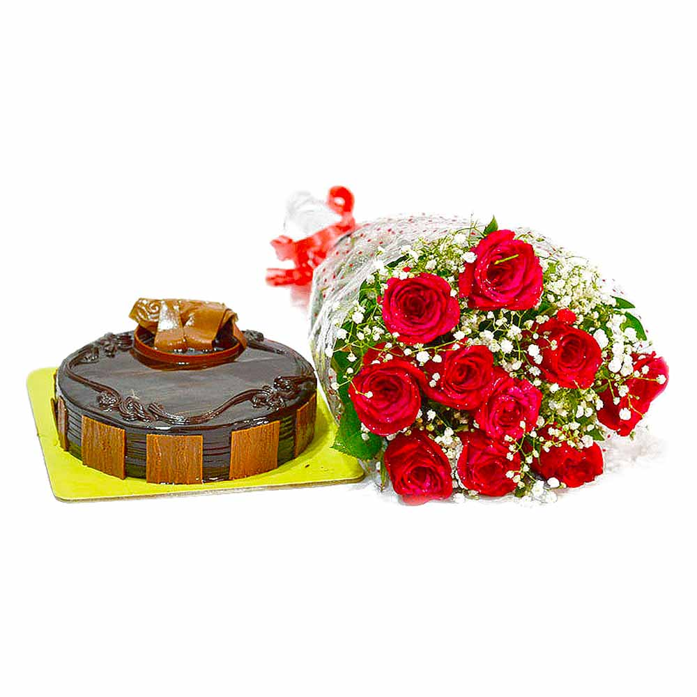 Cakes & Flowers-Bouquet of Ten Red Roses and Half Kg Chocolate Cake