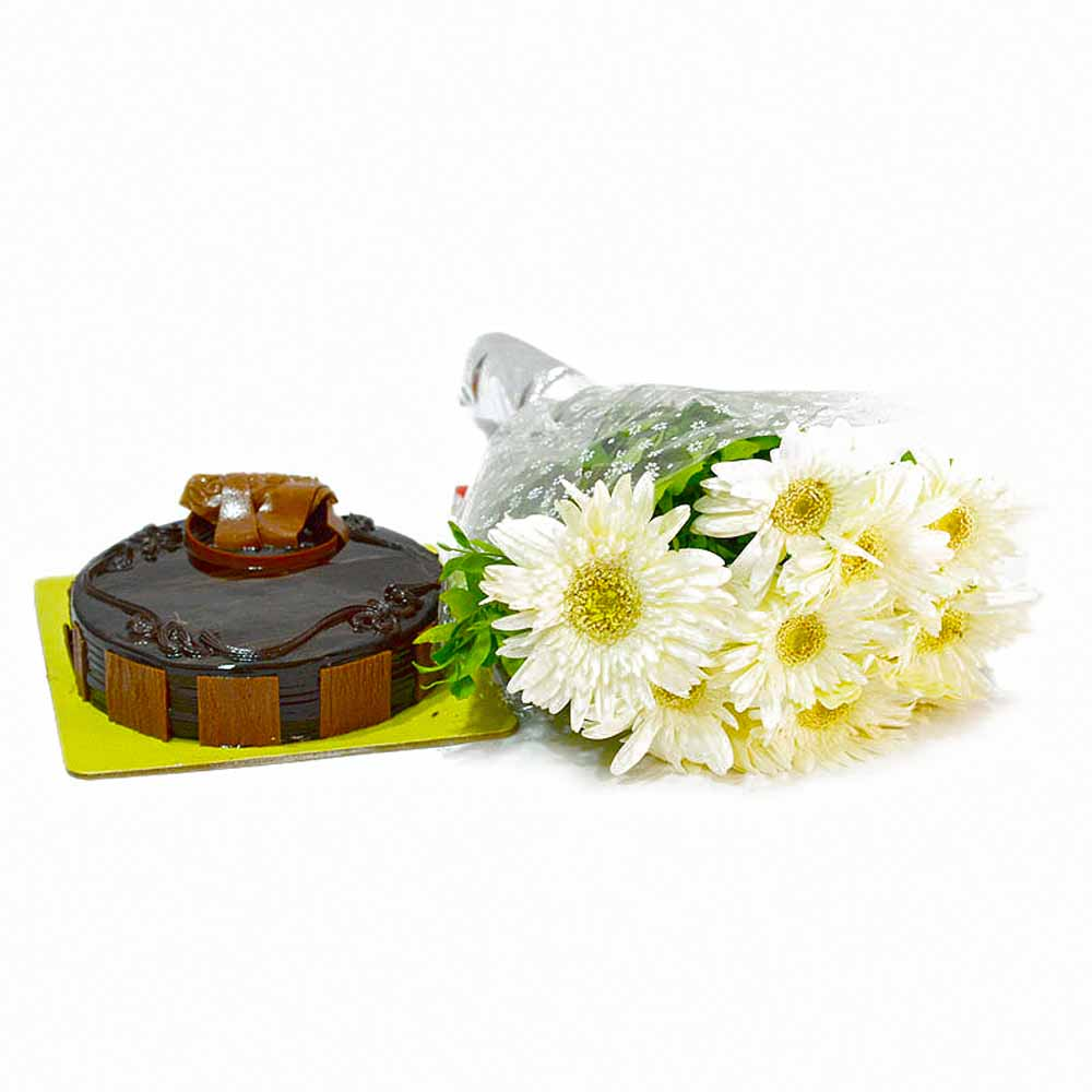 Bouquet of 10 White Gerberas and Chocolate Cake