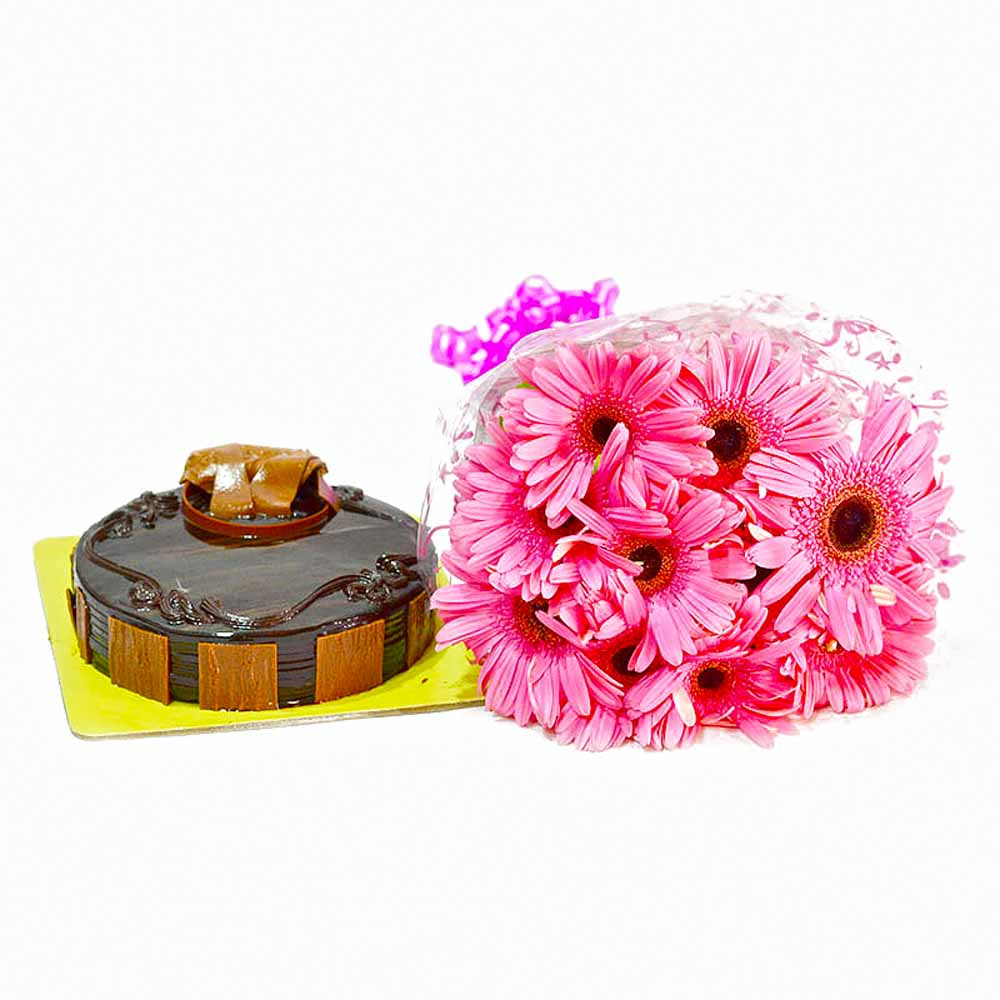 Cakes & Flowers-Bouquet of 10 Pink Gerberas and Chocolate Cake