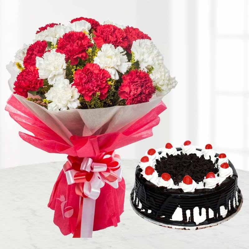 Red and White Carnations Bouquet with Half Kg Black Forest Cake