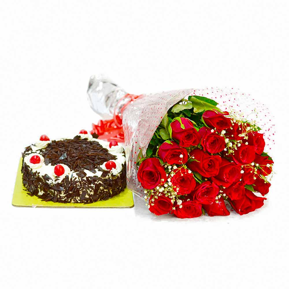 20 Romantic Red Roses Bouquet with Black Forest Cake