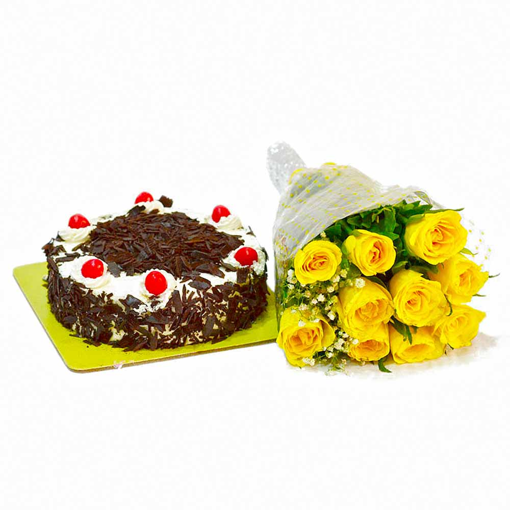 Sunshine 10 Yellow Roses with Black Forest Cake