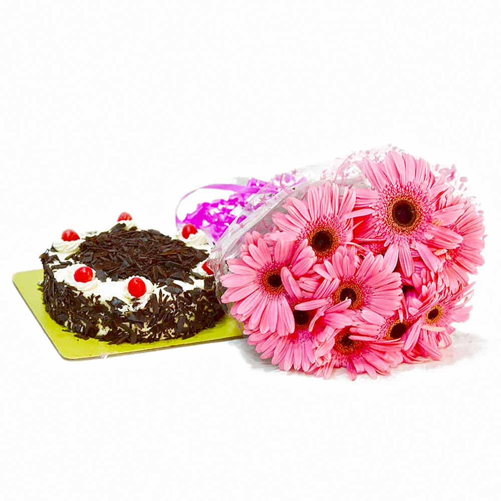 Lovely 10 Pink Gerberas with Black Forest Cake