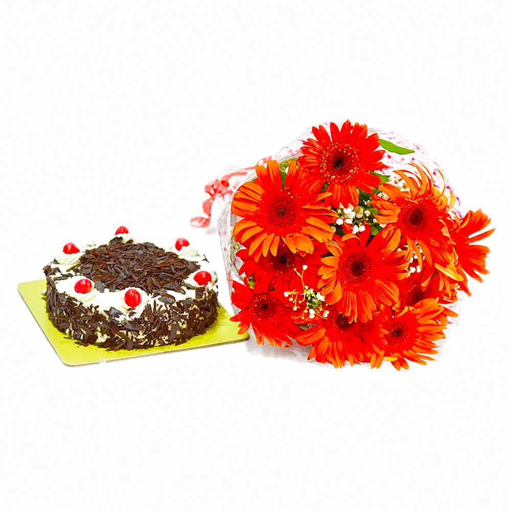 Bunch of 10 Red Gerberas with Black Forest Cake