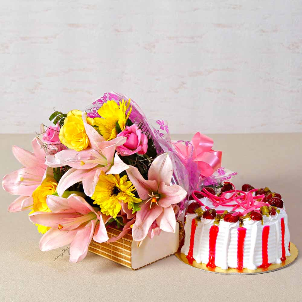 Fresh Cream Strawberry Cake with Bouquet of Exotic Flowers