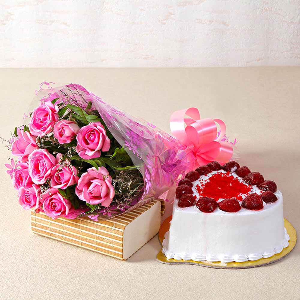 Love Ten Special Pink Roses Bunch with Heart Shape Strawberry Cake