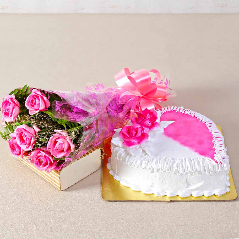 Six Pink Roses with Heartshape Strawberry Cake