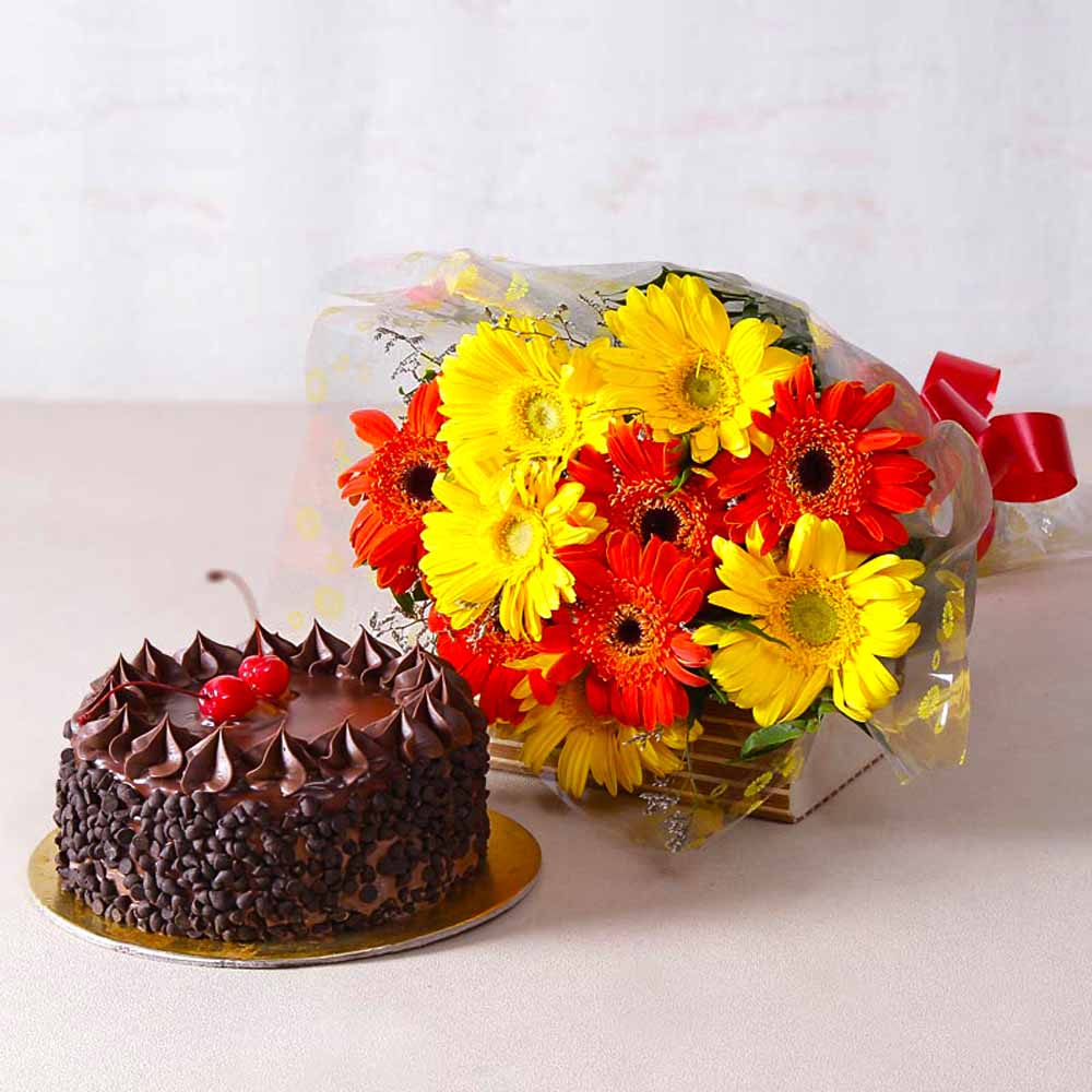 Flowers & Cakes-Half Kg Choco Chip Cake and Gerberas Bouquet