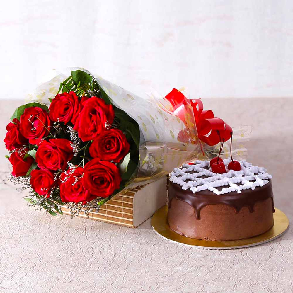 Cakes & Flowers-Delicious Chocolate Cake with Ten Red Roses Bunch