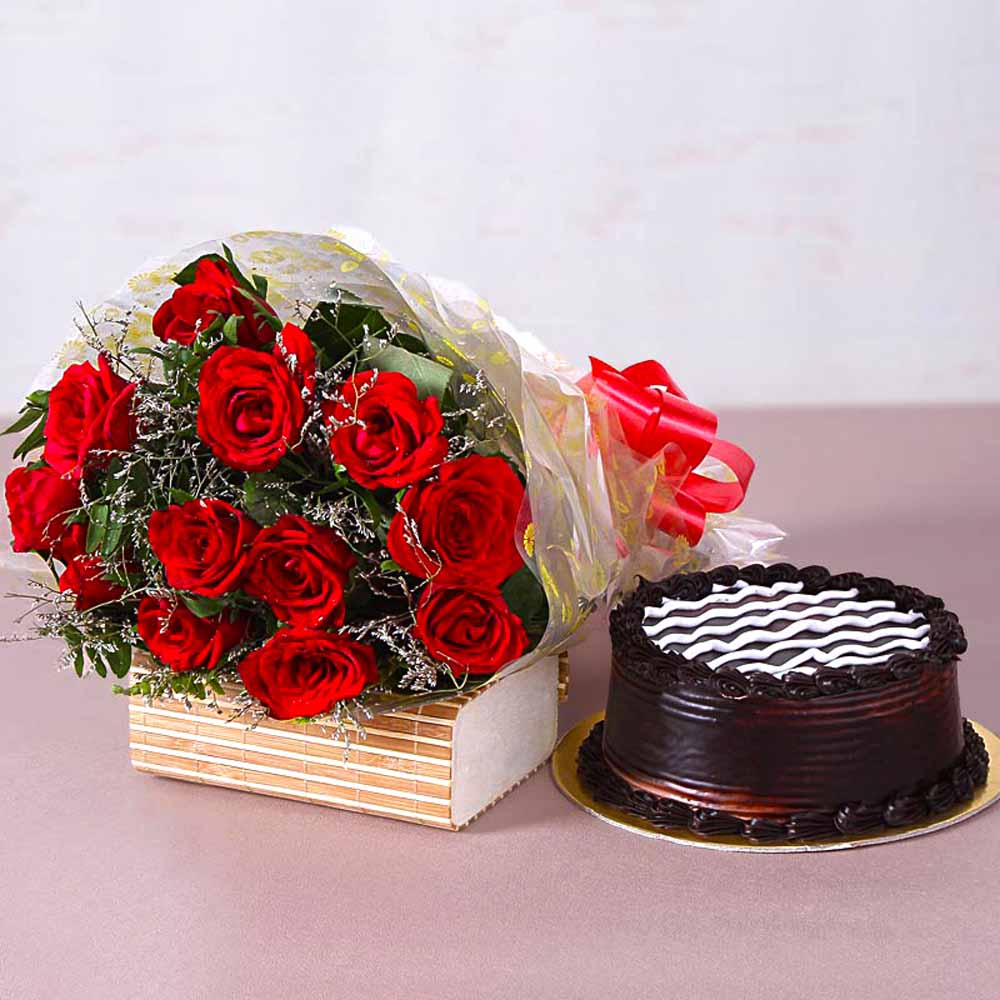 Twelve Red Roses Bunch with Yummy Chocolate Cake