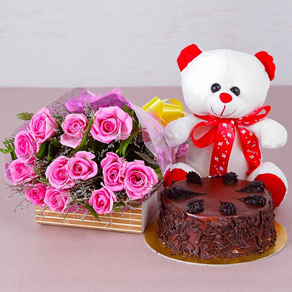 Choco Chips Cake with Teddy Bear and Pink Roses Bouquet