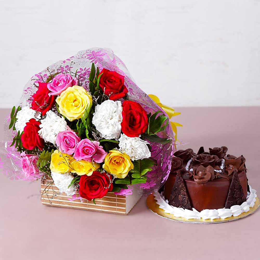 Colorful Fresh Flowers with Yummy Chocolate Cake