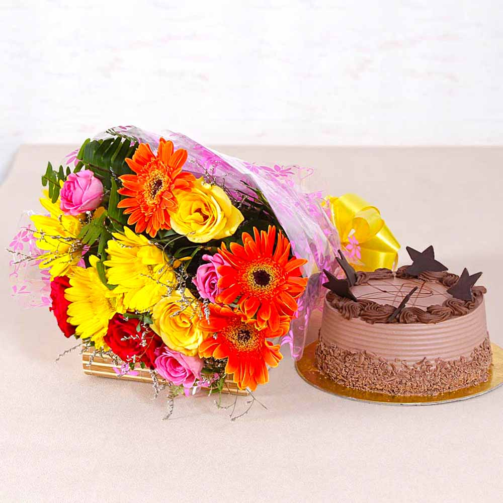 Cakes & Flowers-Assorted 15 flowers Bunch with Chocolate Cake