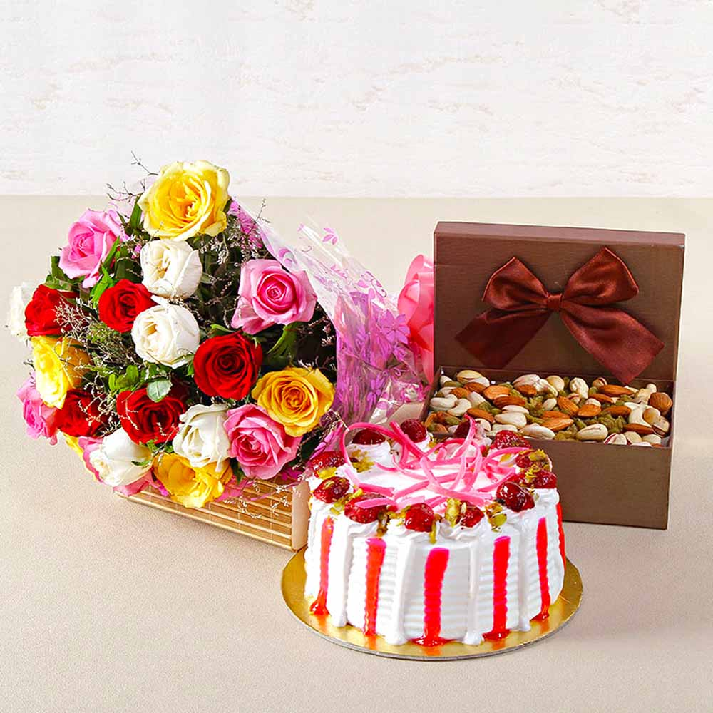 Dryfruits & Flowers-Colorful Roses with Half Kg Strawberry Cake and Assorted Dryfruits Combo