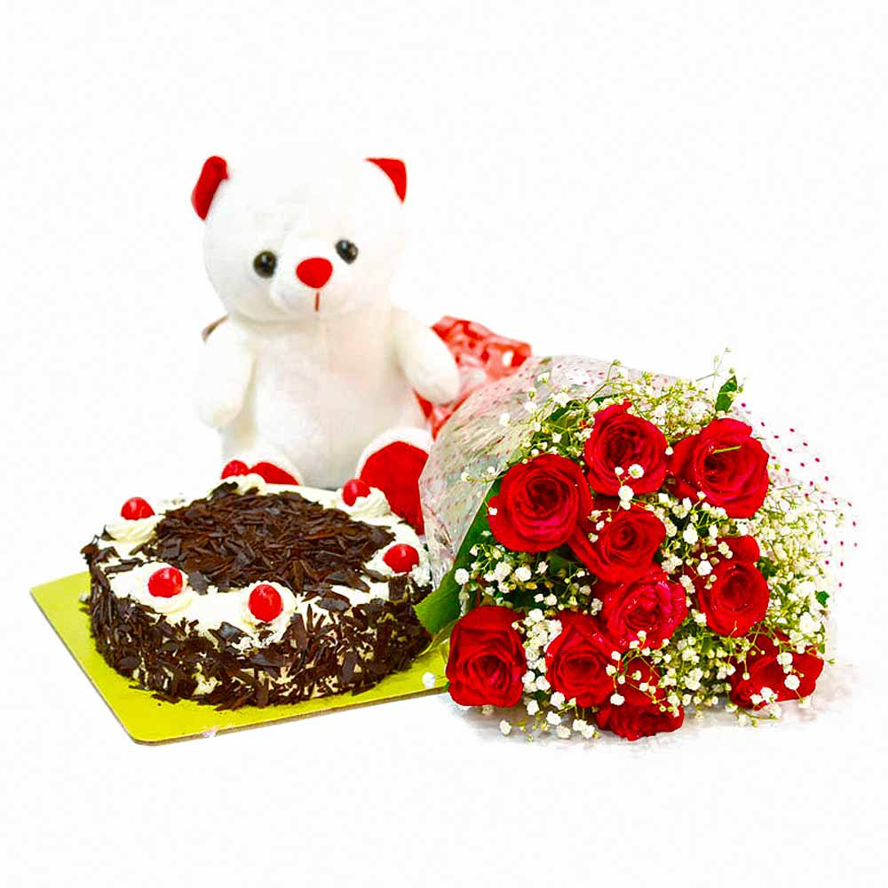 Ten Red Rose with Eggless Black Forest Cake and Soft Toy