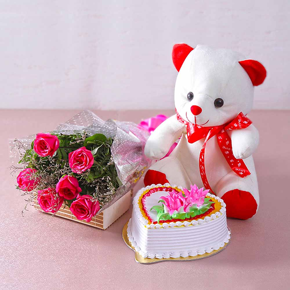 Six Pink Roses with Heart Shape Vanilla Cake and Cute Teddy Bear