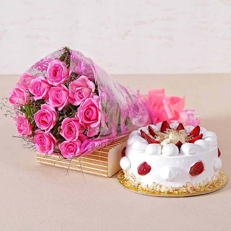 Twelve Pink Roses and Strawberry Cake for any Occasion