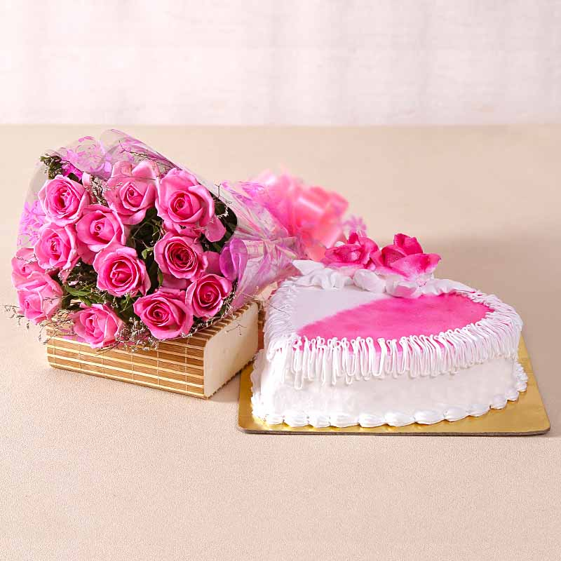 Cakes & Flowers-Love Heartshape Strawberry Cake with Pink Roses Bouquet