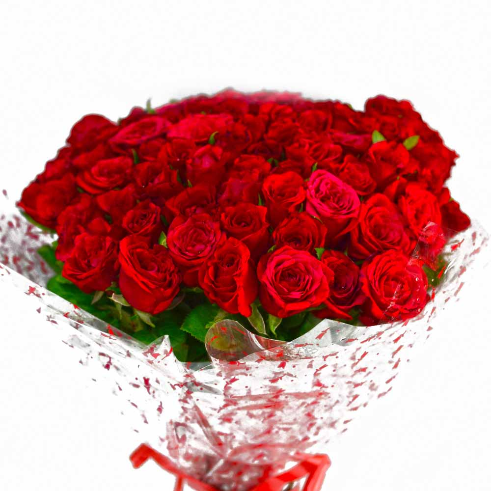 Red Roses-Bouquet of 50 Red Roses