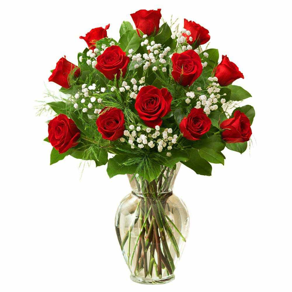 Red Roses-Twelve Red Roses In Glass Vase
