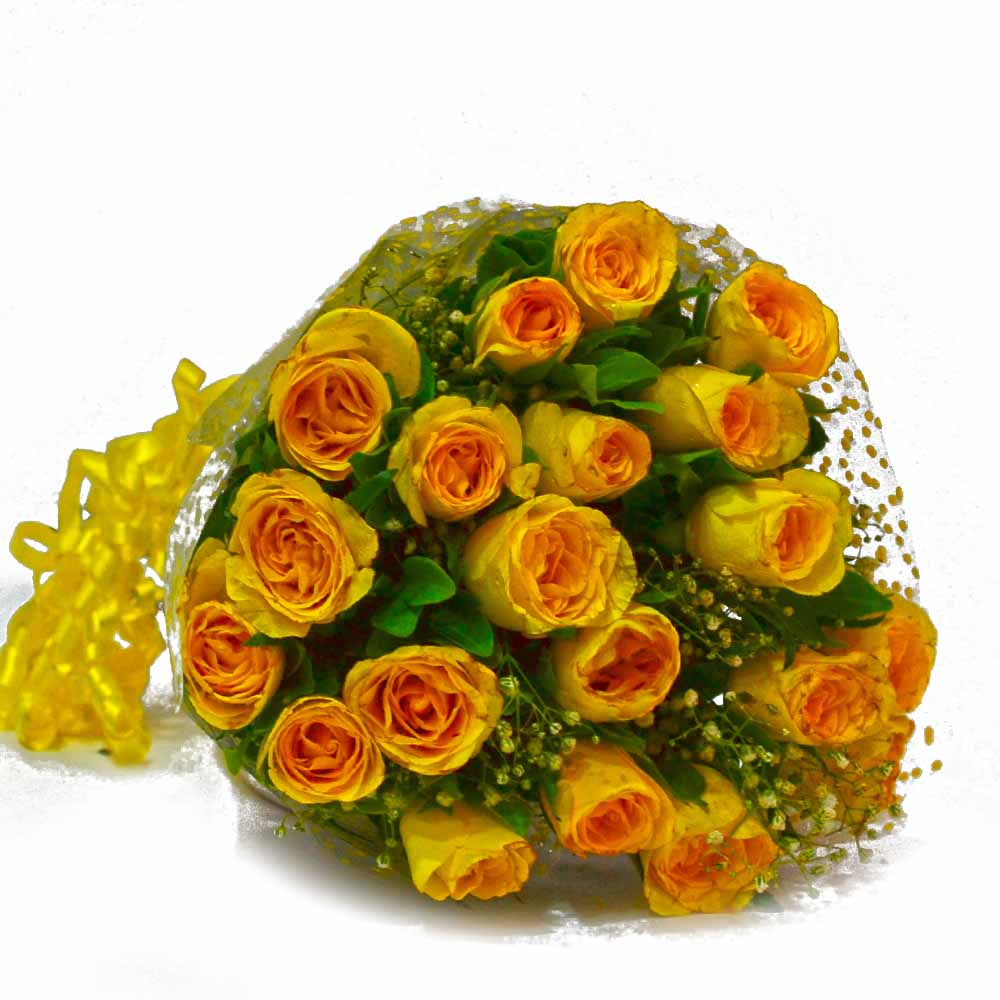 Red Roses-Fresh 25 Yellow Roses Hand Bunch