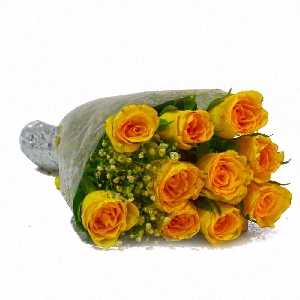 Red Roses-Ten Yellow Roses Hand Tied