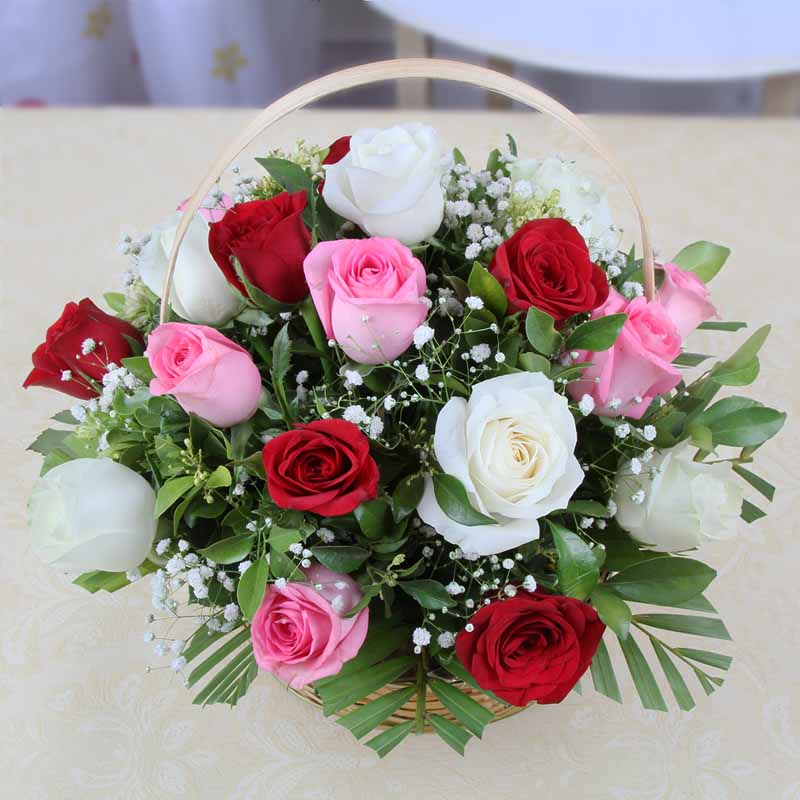 Red Roses-Basket of 15 Mix Color Roses