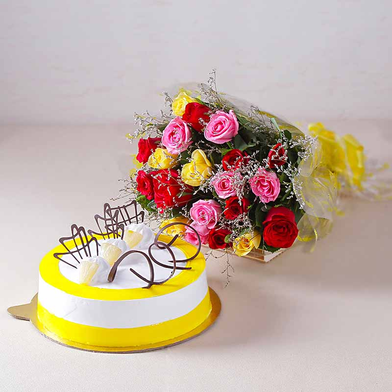 Cakes & Flowers-Multi Color 20 Roses with Half Kg Pineapple Cake