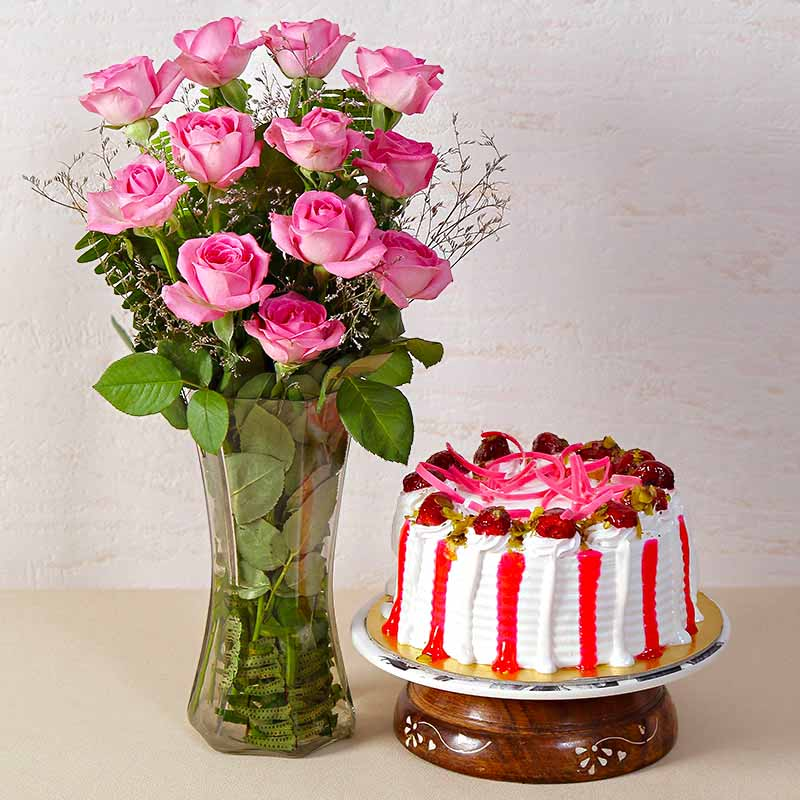 Strawberry Cake with Dozen Pink Roses in a Glass Vase