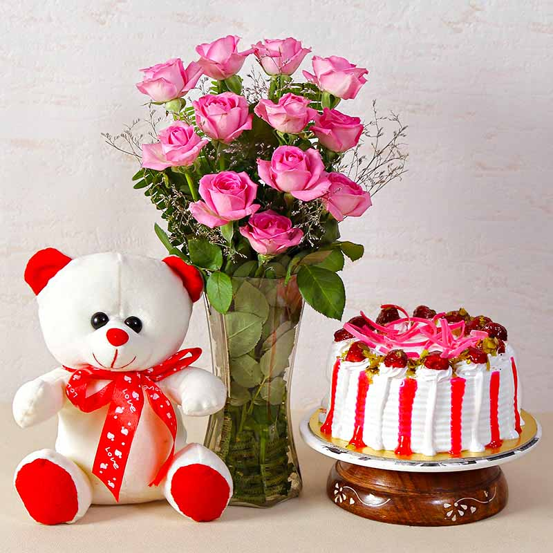 Pink Roses Vase with Strawberry Cake and Teddy Bear