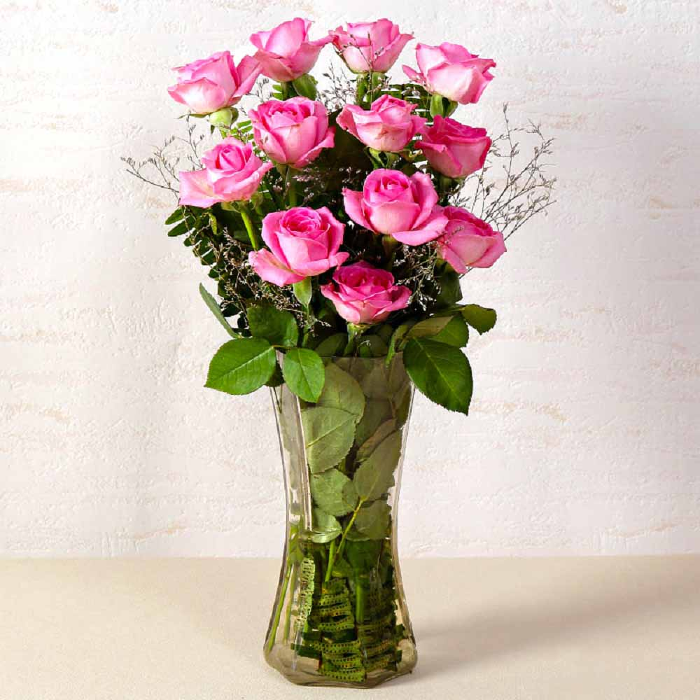 Vase Arrangements-Dozen Pink Roses In Glass Vase