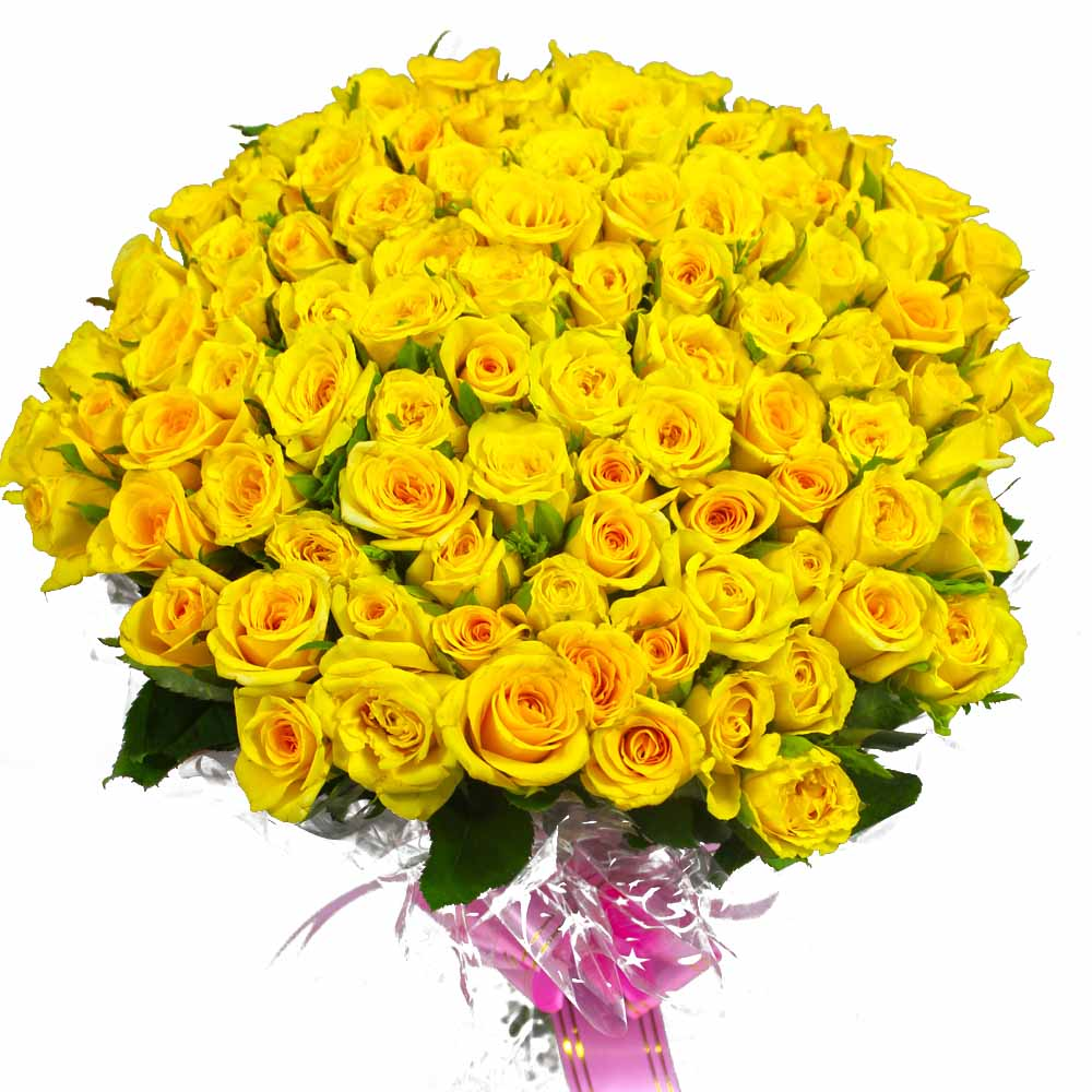 100 Yellow Roses Bouquet